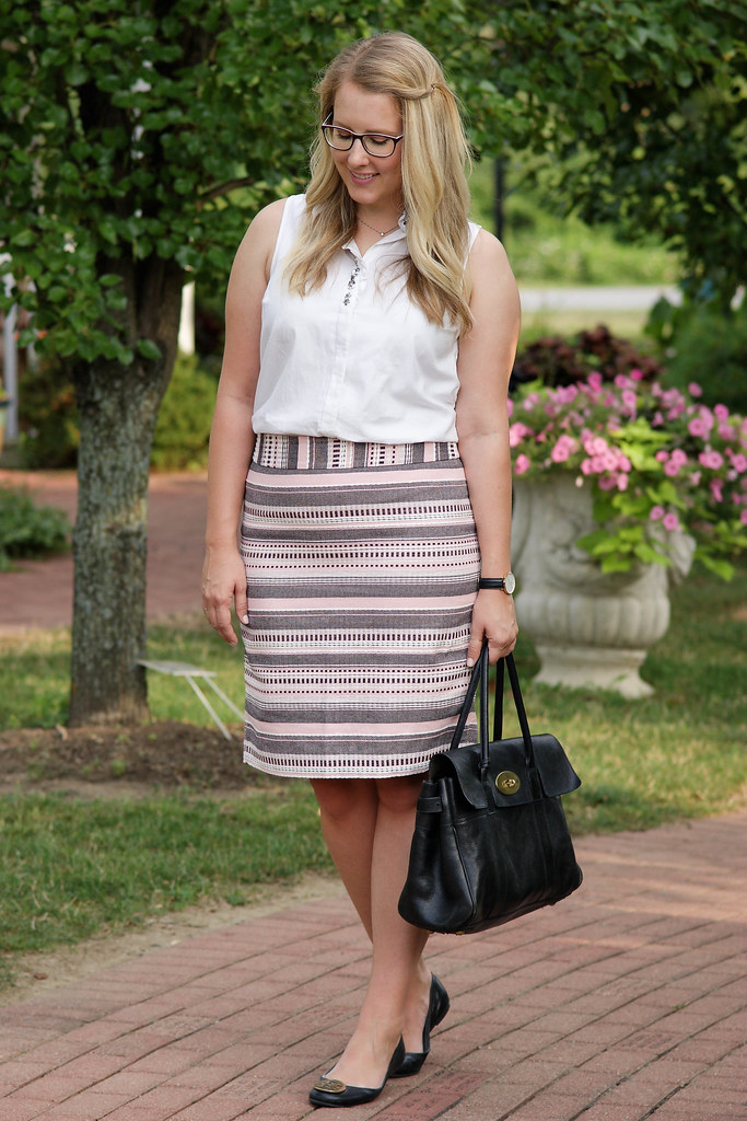 Striped Jacquard Pencil Skirt