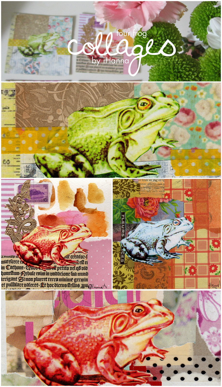 A series of frog collages