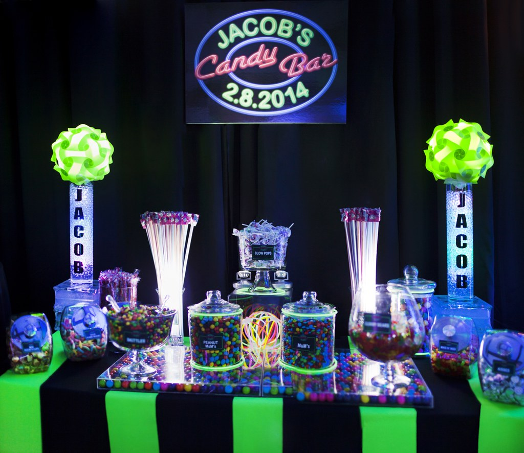 Neon Bar Mitzvah Candy Buffet 3 Cool Neon Bar Mitzvah