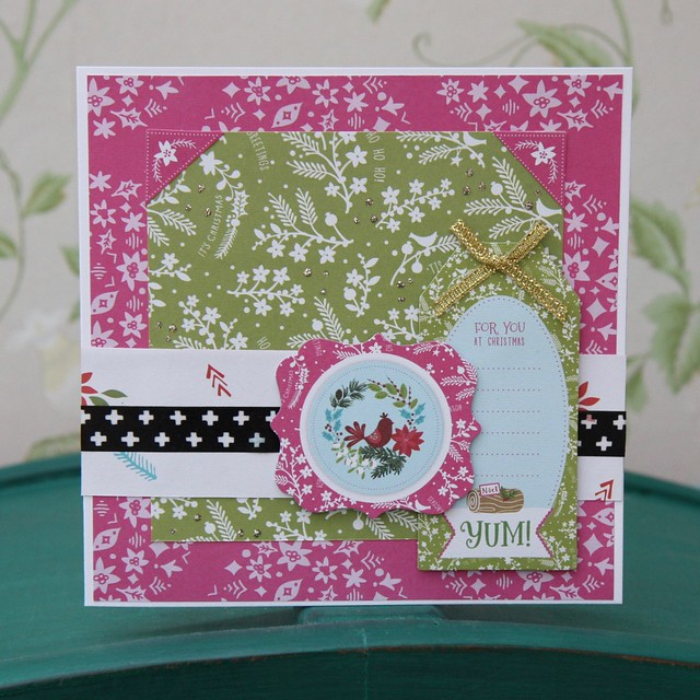 Docrafts Folk Christmas - hot pink and green tag card with Stampin' Up washi tape. Made by StickerKitten.