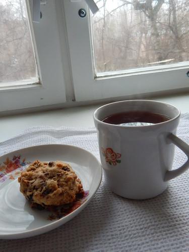 печенька с чаем утром