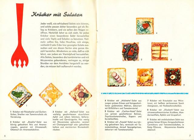 Antiquarische Brandt-Kräcker-Rezeptbroschüre und Oldtimer Ford Mustang 1966 - Rezepte Dekoration 1960er-Jahre Party Picknick Camping Skatrunde Käse Wurst Salat Feinkost