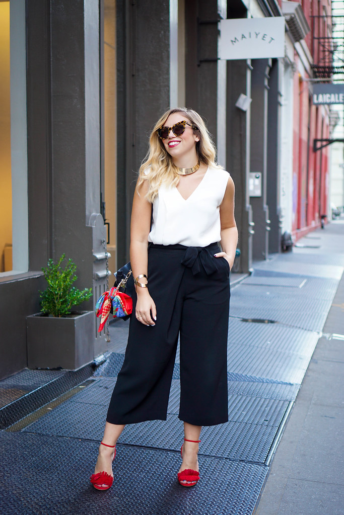 Lafayette 148 New York Eldridge Culottes | White Silk Blouse | Red Fringe Sandals | Office Fashion | Soho Fashion New York Fashion Week NYFW Living After Midnite Jackie Giardina