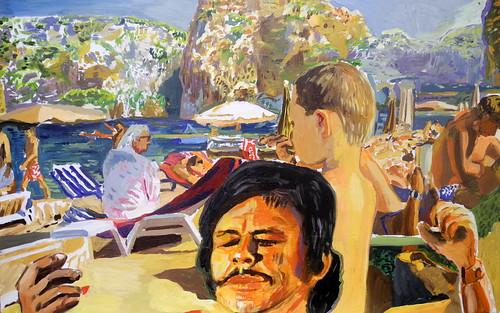 beach scene with Charles Bronson