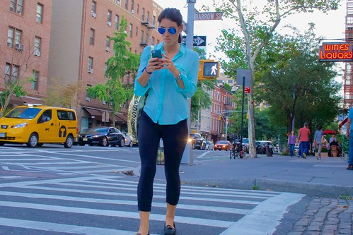 New Yorkers prefer to look cool and stylish, and just pretend they can read their smartphone ... | by Ed Yourdon