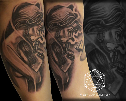 Chicano black and grey clown girl realistic tattoo flickr for Chicano clown girl tattoos