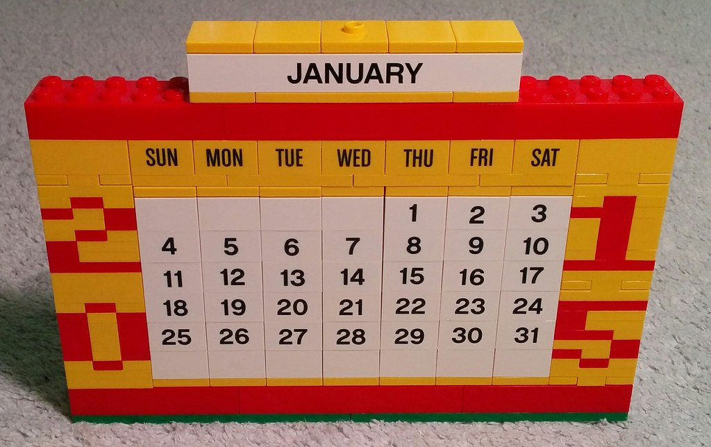 [Improved LEGO Calendar Front](https://www.flickr.com/photos/billward/16294164331) by [Bill Ward](https://www.flickr.com/photos/billward/) / [CC BY 2.0](https://creativecommons.org/licenses/by-sa/2.0/)