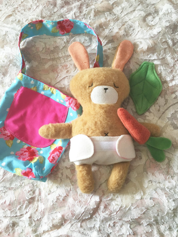 homemade stuffed baby bear set with diaper and treats from ThisSweetDollhouse