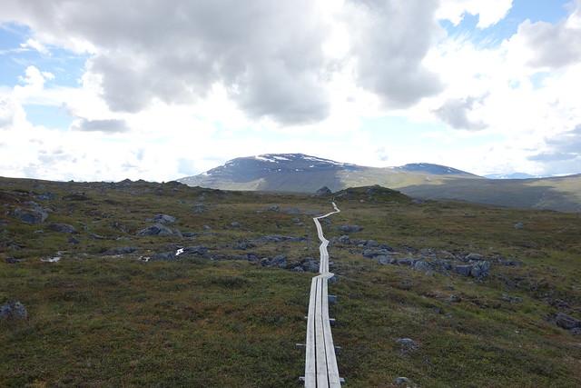 Duck-boards on the Padjelanta trail. Heading towards Låddejåhkå cabins with Máhttoajvve in the background.