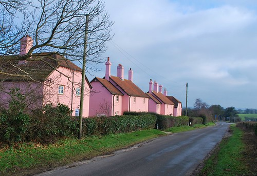 Pink Houses  by Wells Road, Norfolk