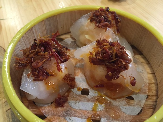 Steamed shrimp dumpling topped with XO sauce - Koi Palace
