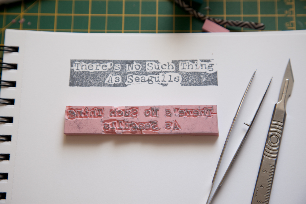 All Text Carved on Rubber Stamp - Test Print