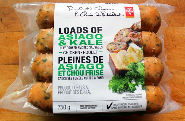 Product Reviews of PC Asiago Cheese & Kale Chicken Sausages on PC Beer Flavoured Sausage Buns