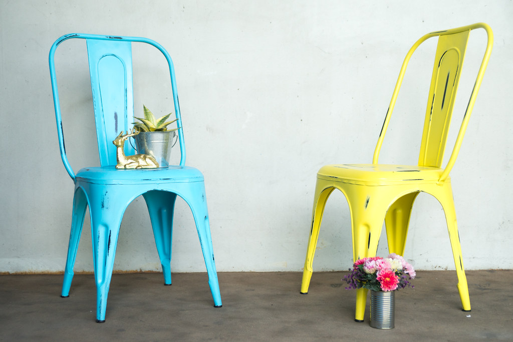 ... Distressed Blue And Yellow U0027Tolixu0027 Chair | By Like ...