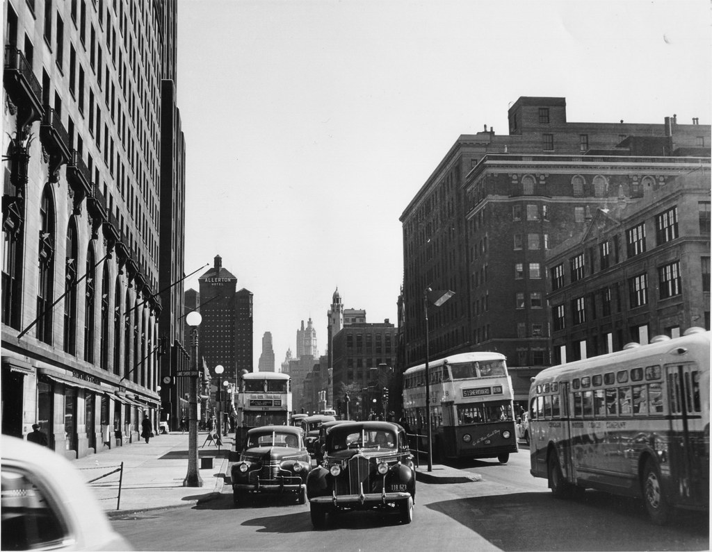 Double Decker Buses On North Michigan Avenue In The 1940s