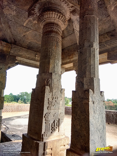 Intricately carved pillar featuring the Lord Ganapathi or Ganesha on the Chaturmukha Basadi in Karkala, the Tribhuvana Tilaka Jina Chaityalaya or Ratnatraya dhama, in Karkala, Udupi district, Karnataka, India