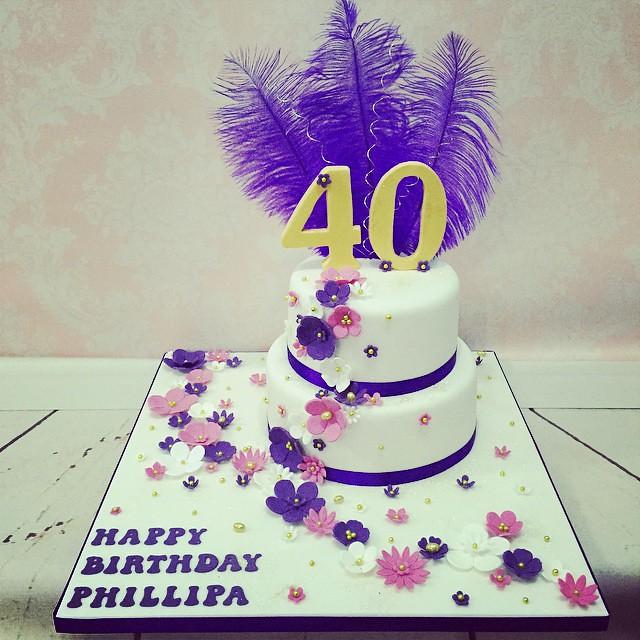 Tonights Ladies Flower Cascade 40th Birthday Cake Fabulo Flickr