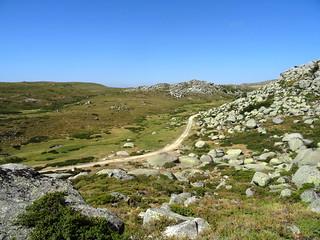 Dans la montée du sentier de la Pierre : la piste et le sentier de l'Eau en dessous