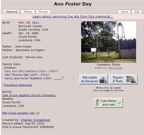 Ann Foster Day Olds findagrave | by serendipitysusan