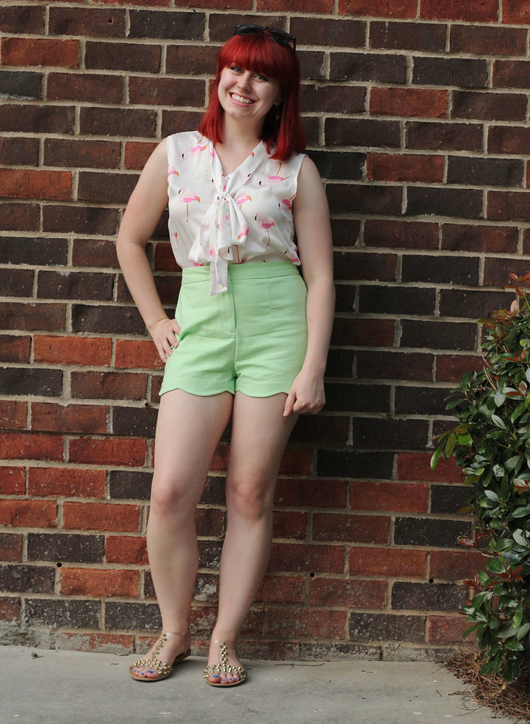 Retro Summer Style Pink Flamingo Bow Knot Blouse Pastel Green Scalloped Shorts Clear Stud Sandals
