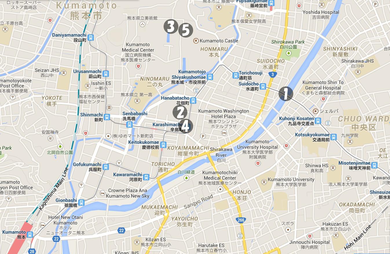 ゴジラvsスペースゴジラ 熊本件熊本市 ロケ地マップ Godzilla vs SpaceGodzilla Kumamoto Location Map