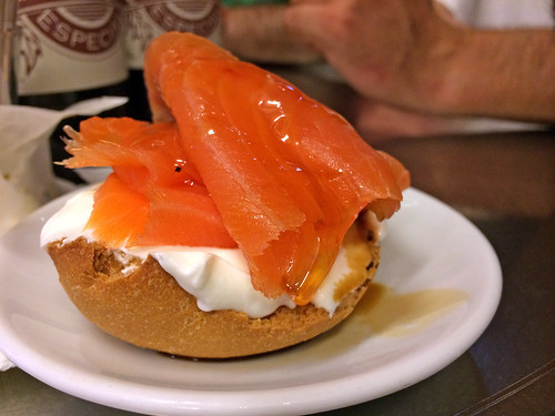 Salmon, yogurt, and truffled honey montadito | by mariamjaan
