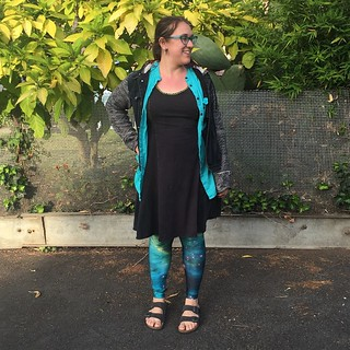 #mmmay15 day 5: Yet another #alabamachanin dress and a blue button down shirt from some #burda pattern. Leggings and jacket not made by me.