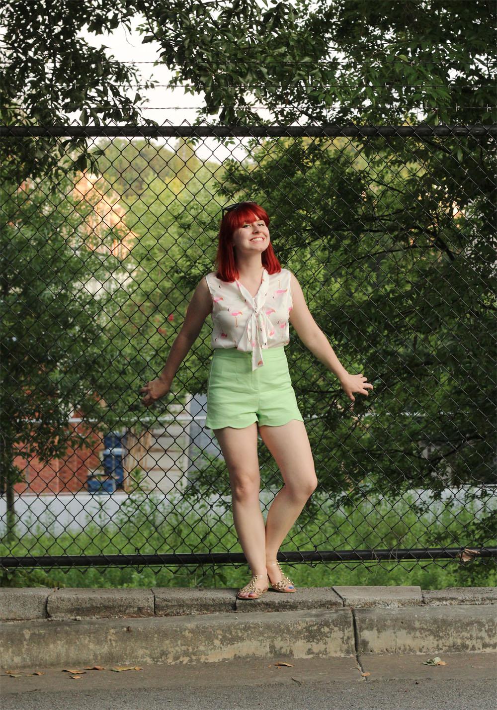 High Waist Pastel Green Shorts Flamingo Print SheIn Top Clear Studded Sandals