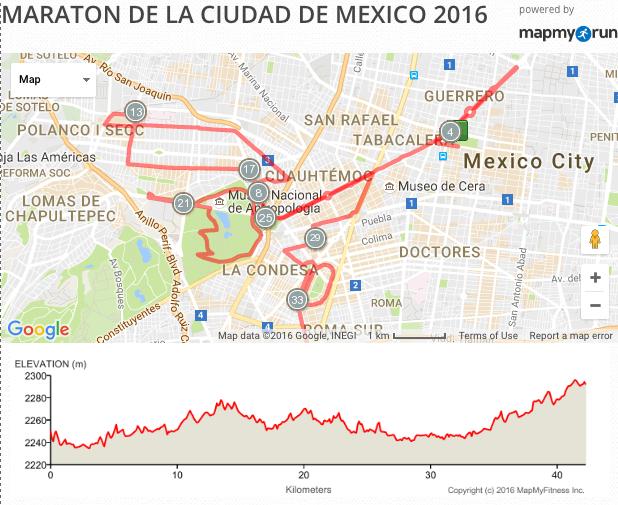 Mapa de la ruta del marat n de la ciudad de m xico 2016 Ruta de la navidad 2016