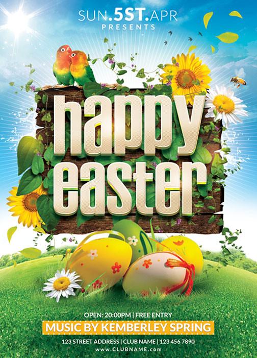 Happy Easter Flyer Template  You Can Download The Psd File   Flickr