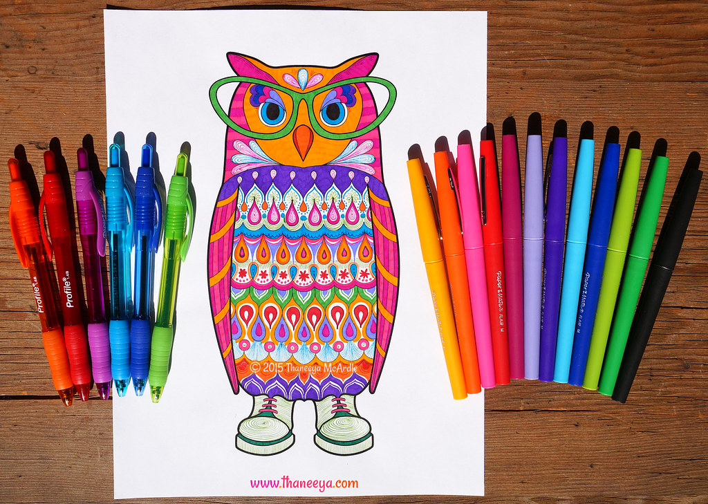 Colorful Owl Coloring Page By Thaneeya McArdle