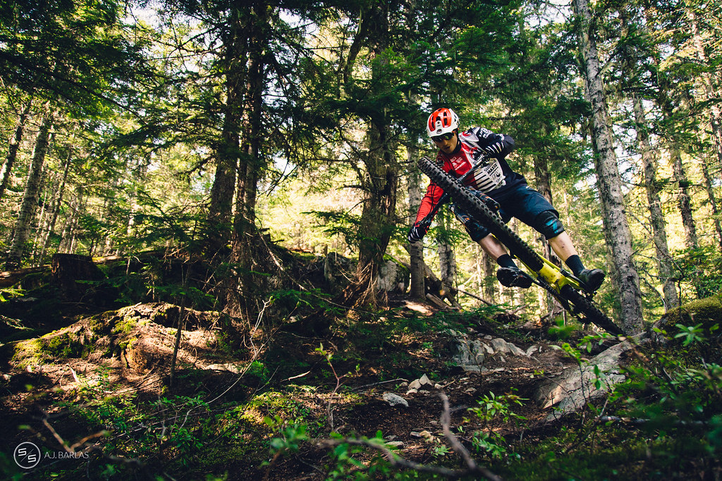 Jesse Melamed over the lense, High Society trail, Whistler