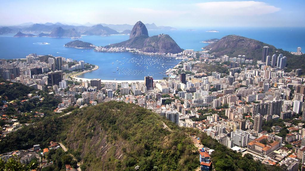 An aerial photograph of Rio de Janeiro