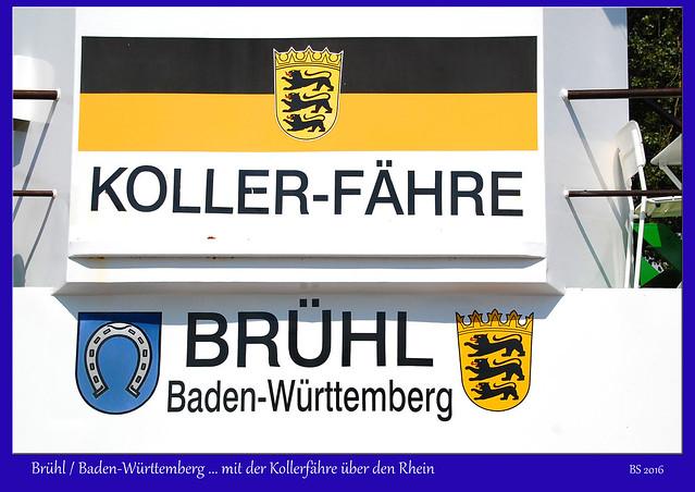 Rheinfähre Kollerfähre Brühl Kollerinsel Binneninsel Baden-Württemberg Foto: Brigitte Stolle August 2016