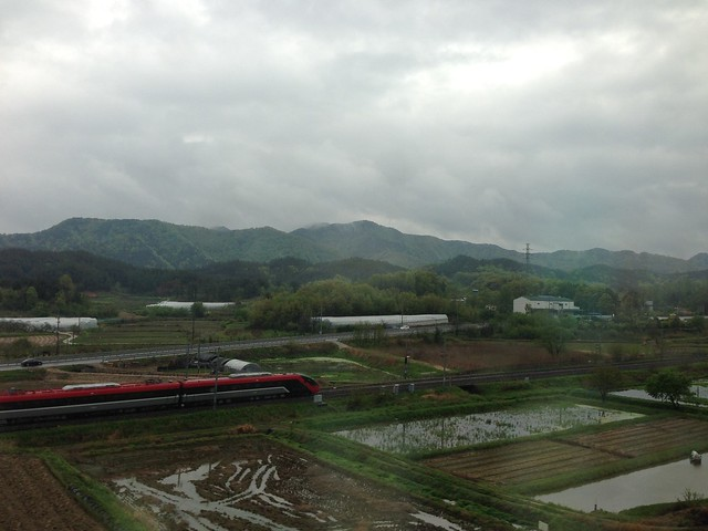 View of the Korean countryside from the train