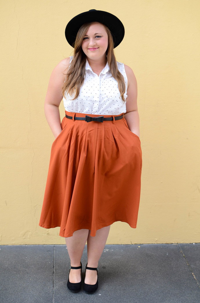 modcloth, vintage, retro, style, ootd, skirt, midi skirt, hat, forever 21, old navy, spring style
