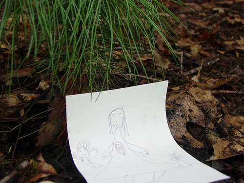 A drawing placed at a hometown memorial by a child survivor of 9/11