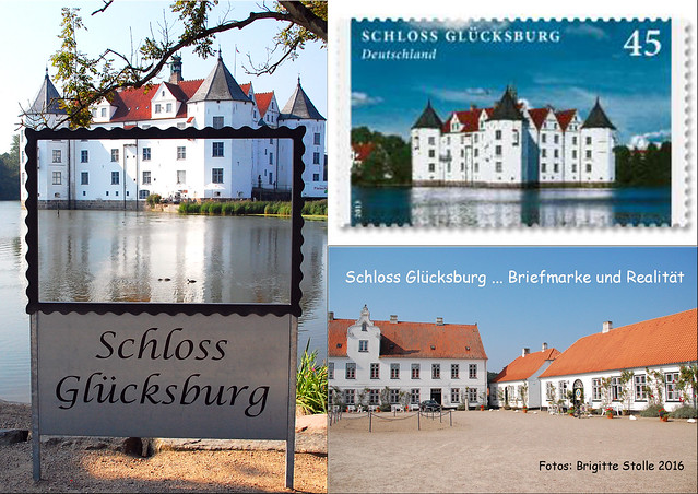 Wie oft habe ich im Urlaub die 0,45-EUR-Briefmarke mit dem Motiv von Schloss Glücksburg auf Ansichtskarten geklebt? Lustig, wenn man dann plötzlich vor dem Original steht. Schloss Glückburg ist eines der bedeutendsten Renaissanceschlössern Nordeuropas ... Fotos und Collagen: Brigitte Stolle 2016