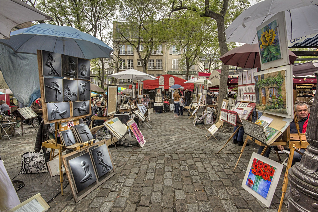 Parigi montmartre quadri di un 39 esposizione situata su for Quadri di parigi