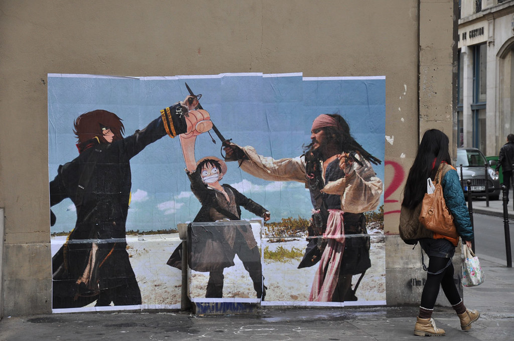 Street art by COMBO Culture Kidnapping - Pirates of the Caribbean / Captain Harlock / One Piece