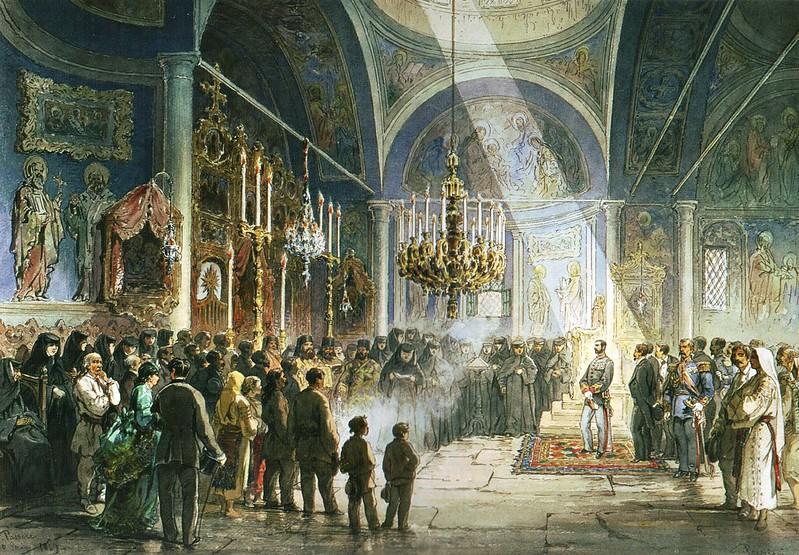 Amadeo Preziosi - Vizita domnitorului Carol I la Manastirea Pasarea (1869)