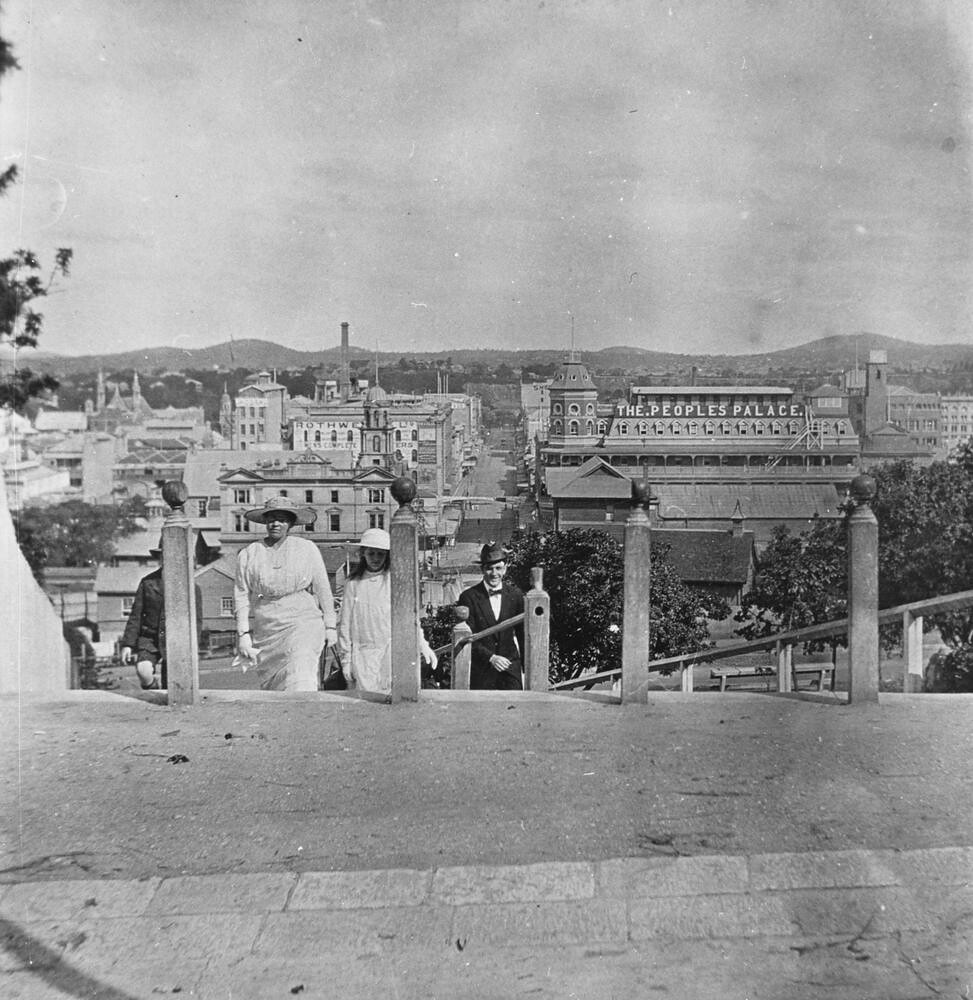 View looking east along edward street from jacobs ladder o for Queensland terrace state library
