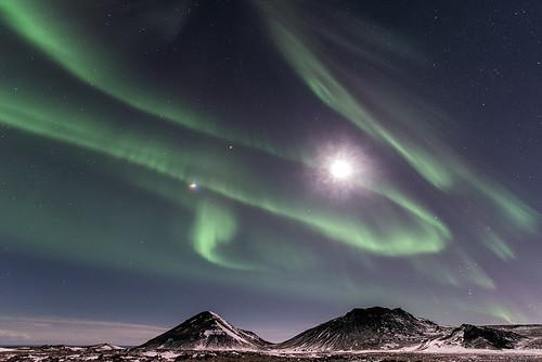 Aurore boréale et lune au dessus de Reykjanes - Islande