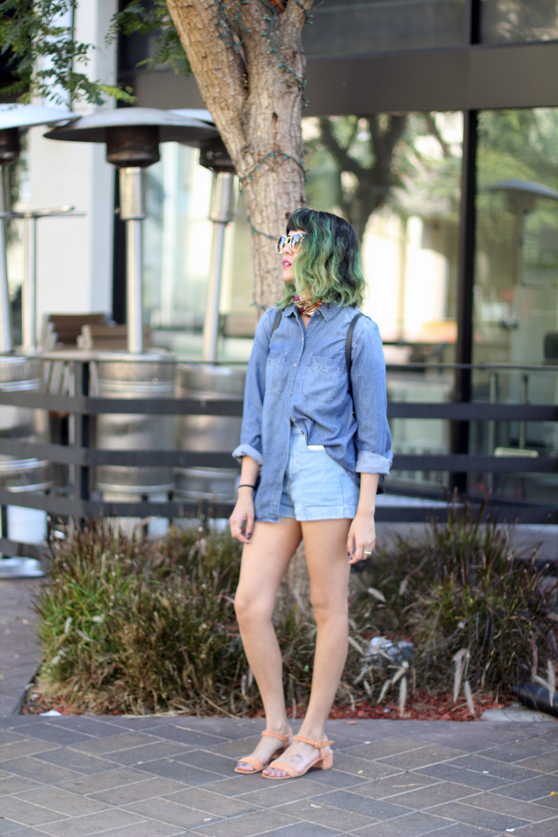 Green ombre, denim blouse, denim shorts, Maryam Nassir Zadeh Sophie sandals in watermelon