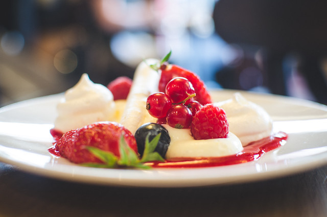 A delicate dessert of berries, cream, and meringue at Cafe Constant in Paris, France.