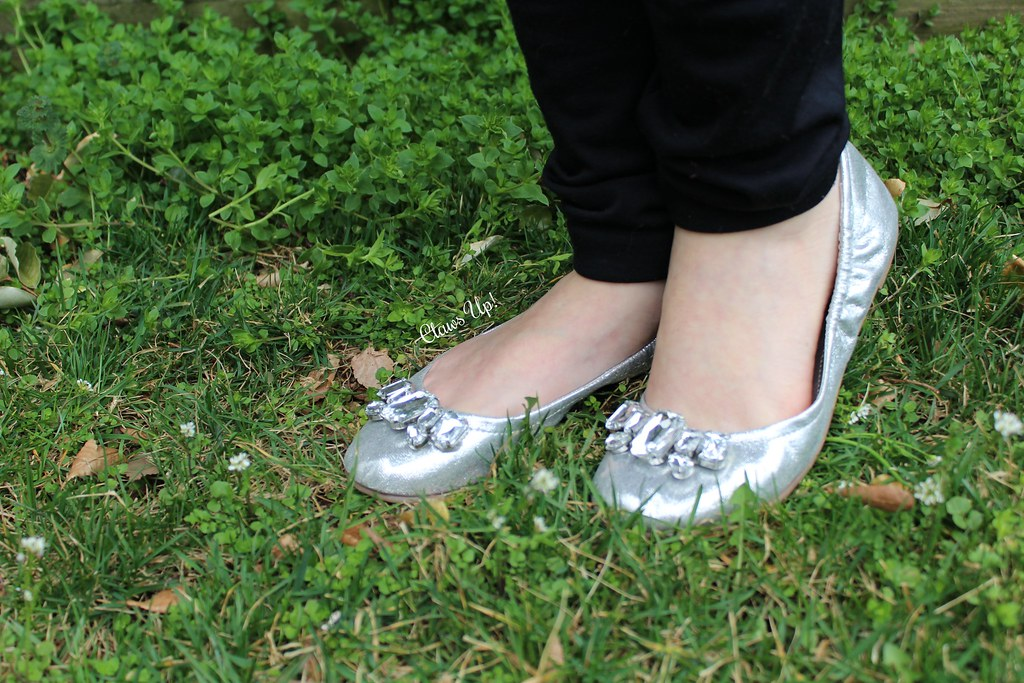 Silver flats with rhinestones.