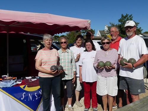 16/07/2016 - Primel Trégastel (Plougasnou) : Les finalistes du concours de boules plombées en triplettes formées au profit de la SNSM Primel