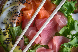 Supermarket offers prepared lunch bowl of sashimi