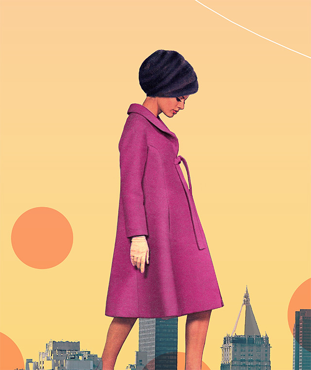 new york city collage detail - woman in magenta coat