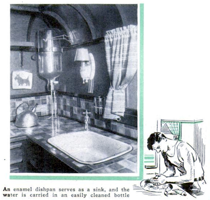 A 1937 Popular Science sanitary and inexpensive gravity water system and sink shown for a camper trailer.